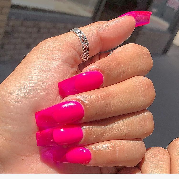 Jelly Nails Pink Neon See Through Nail Art Magenta With Images