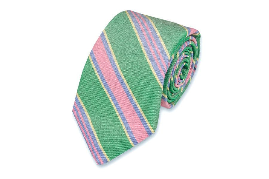 Maybank Stripe Necktie in Kelly by High Cotton
