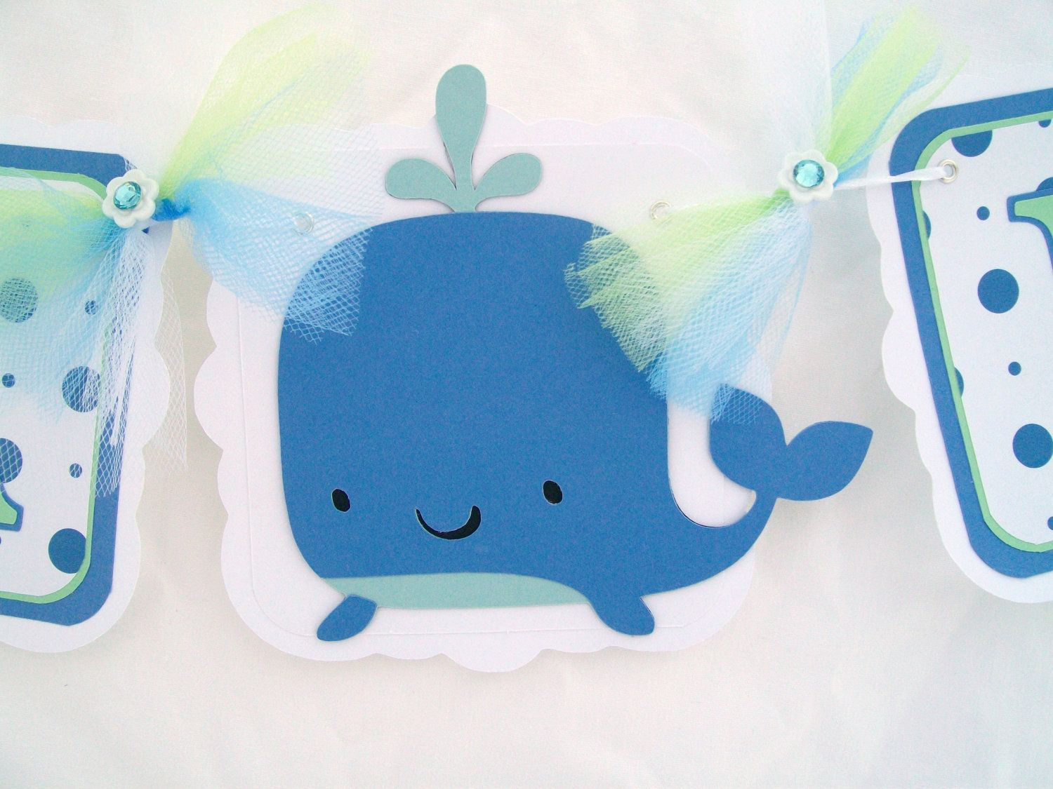 Baby Shower Banner, Whale Banner, White, Blue And Mint Green   READY TO  SHIP Clearance