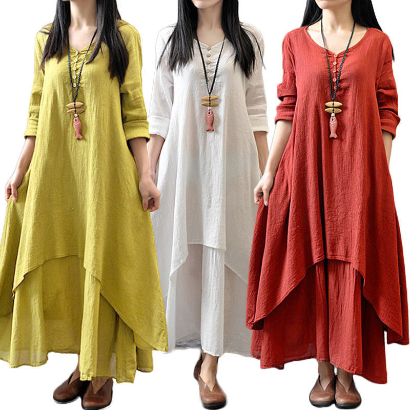 58d4fa19227 Fashion Women Ethnic Boho Linen Long Sleeve Gypsy Blouse Loose Shirt Maxi  Dress