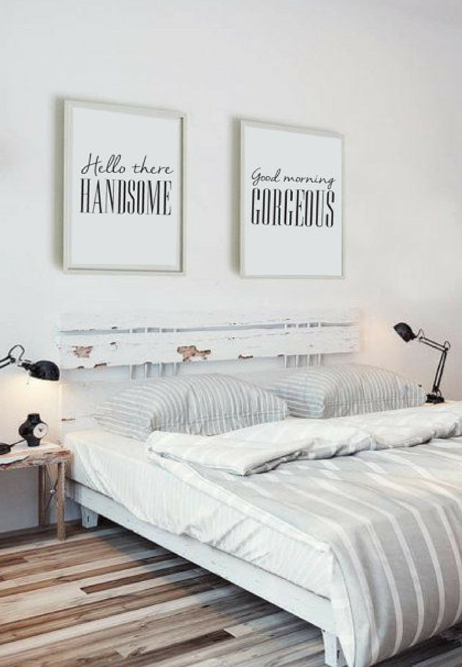 Minimal Wall Art Print Hello There Handsome Good Morning Gorgeous