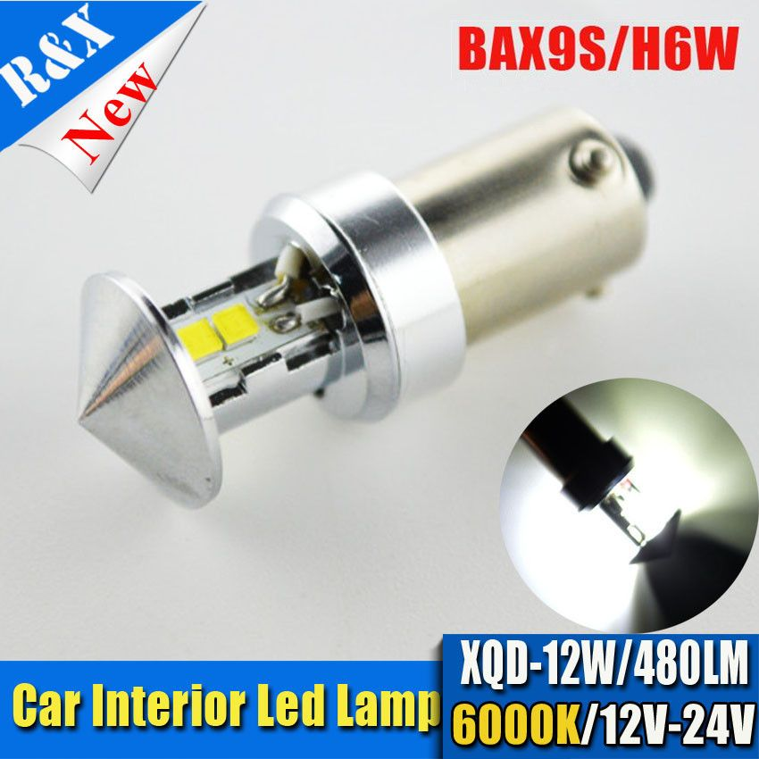 1x12w Bax9s H6w 4xxq D Smd Led 480lm White 6000k Light Bulb For Car Dc 12v 24v Fog Lamps Car Lights Bulb