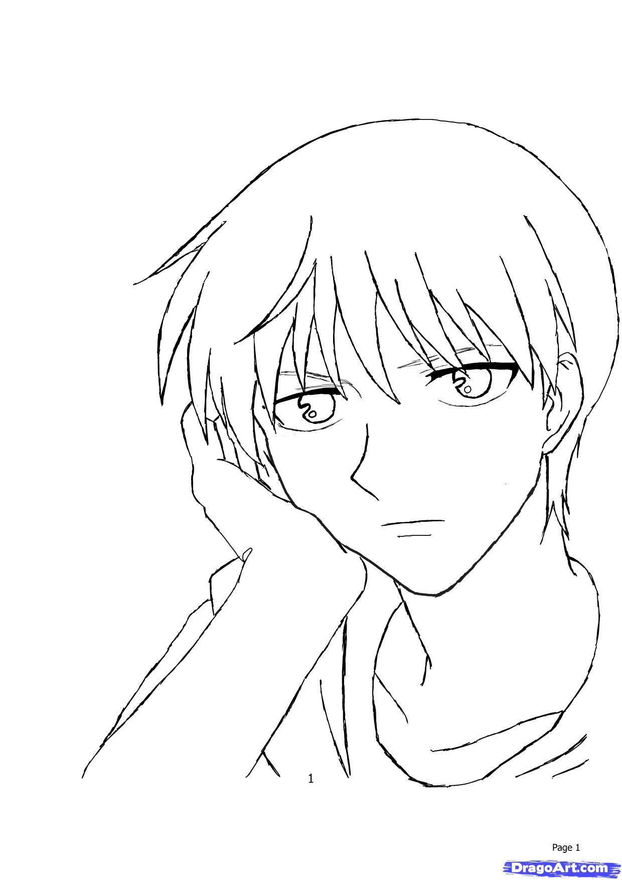 how to draw kyo sohma in human Fruits Basket Coloring Pages Kyo ...