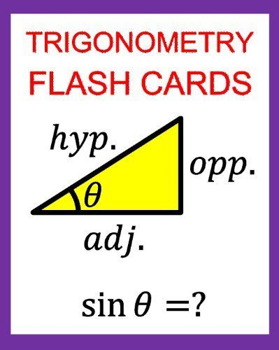 Trigonometry Flash Cards Memorize Values Of Trig Functions Sin