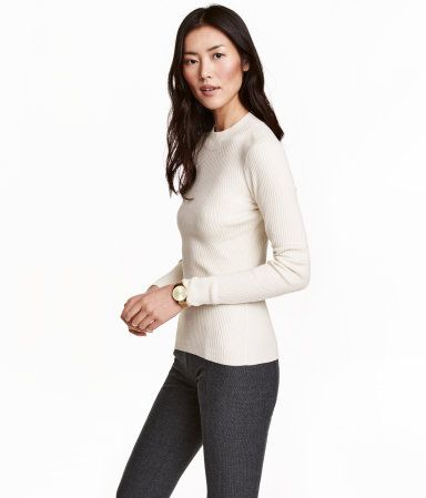 Natural white. Fitted, rib-knit sweater in a soft viscose blend ...