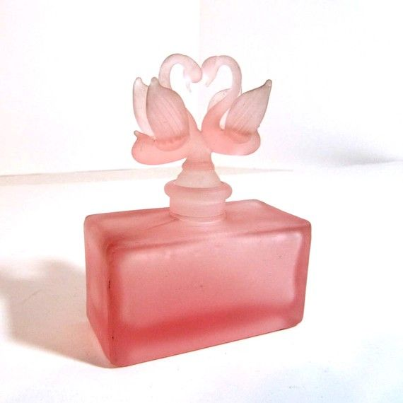 Antique pink satin glass perfume bottle swans by ZenHen