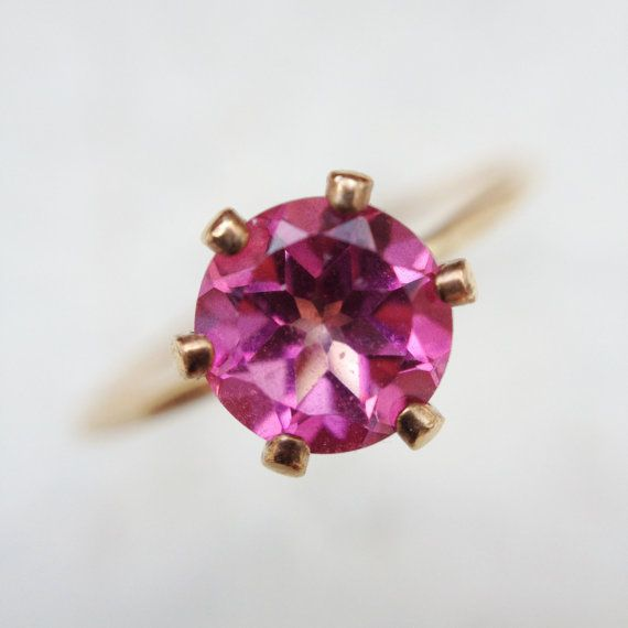 wedding bridal jewelry Gold filled minimalist pink topaz ring by YUNILIsmiles