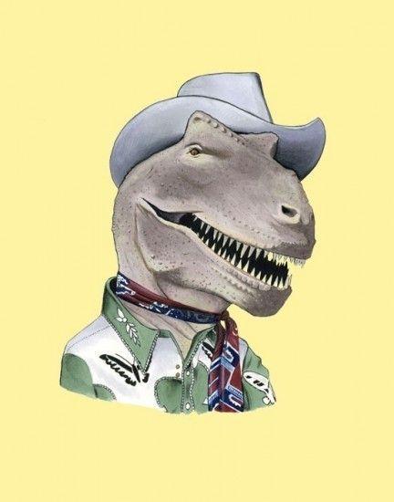 Prints Of Animals In Fancy Dress Cowboy T Rex Animal Illustration Pet Portraits Animals