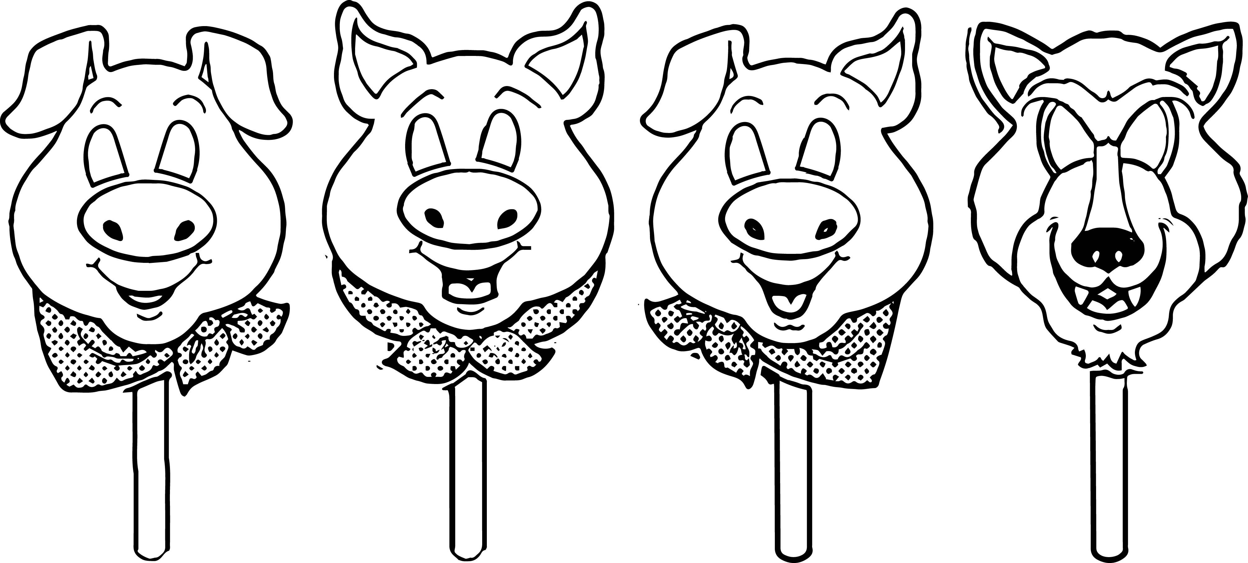 Awesome 3 Little Pigs Mask Template Coloring Page