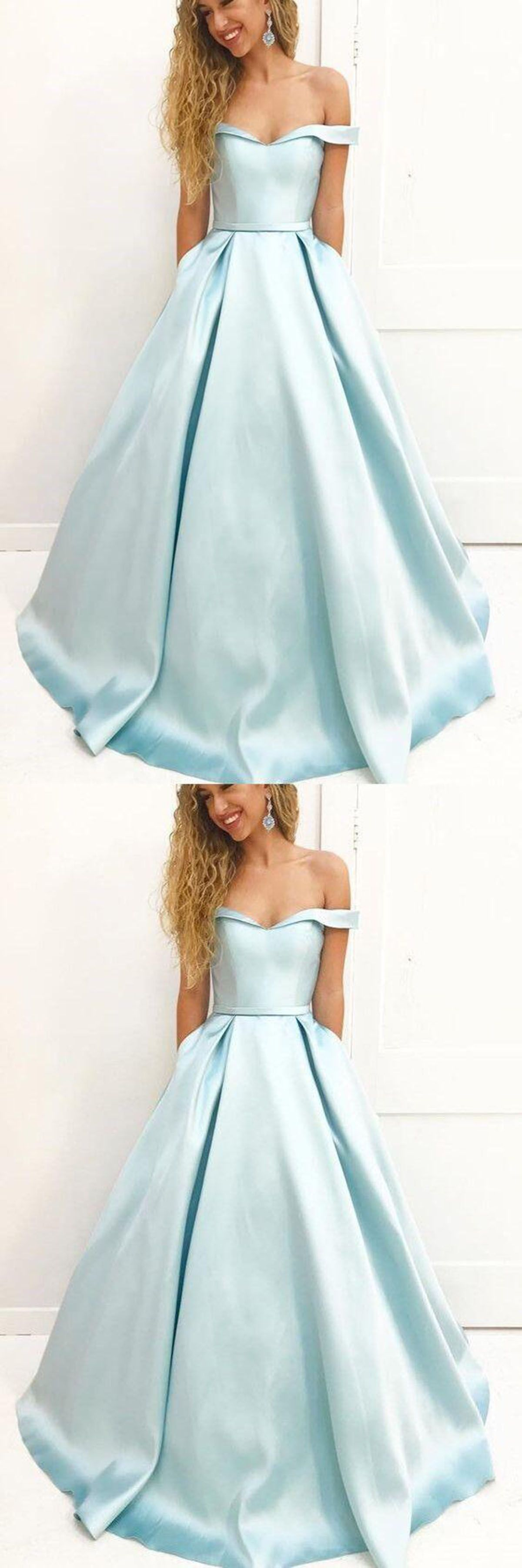 Off shoulder prom dress elegant light blue satin long evening gown