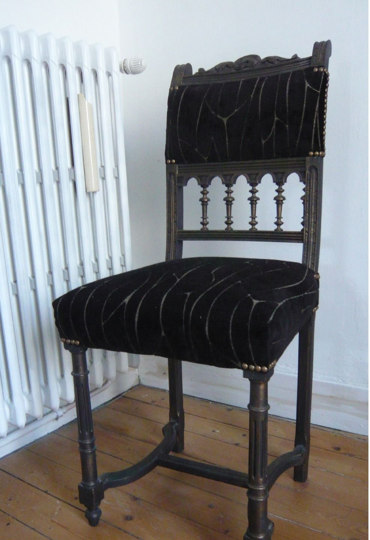 Meuble Ancien Style Henri 4 chaise henri iv relooké patine noire et or : meubles et