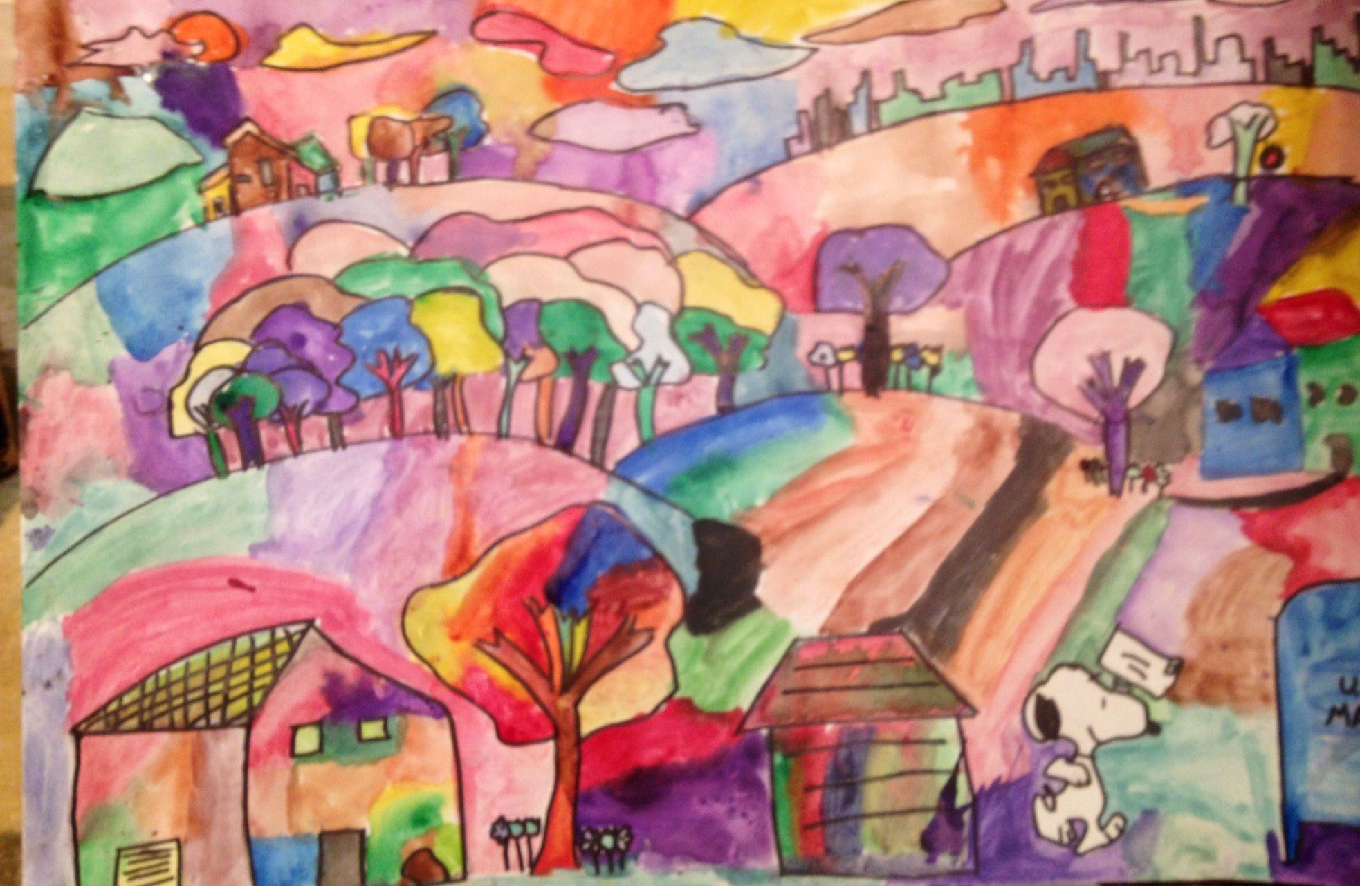 Watercolor Landscape-6th Grade   Art lessons [ 1281 x 1966 Pixel ]