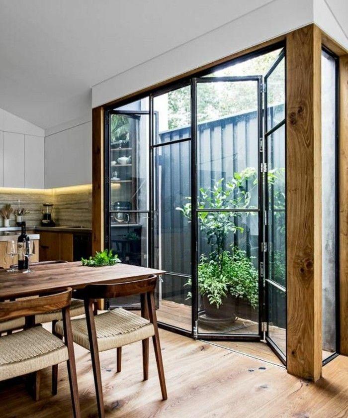 Les portes pliantes design en 44 photos! | Porte pliante, Porte vitrée et Baie vitrée coulissante