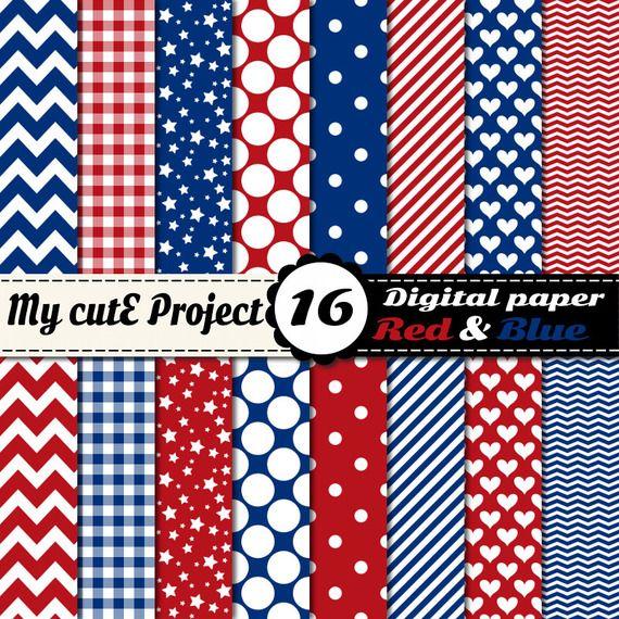 Papier Digital Rouge Et Bleu Scrapbooking Graphisme 12x12