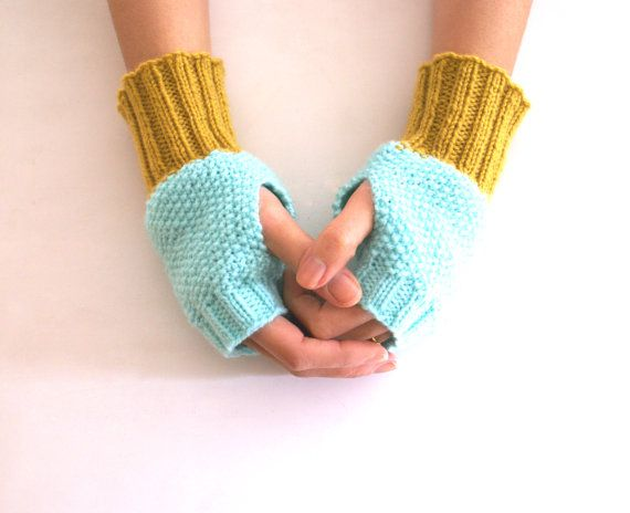 Fingerless Gloves Wrist Warmers in Mint and Mustard