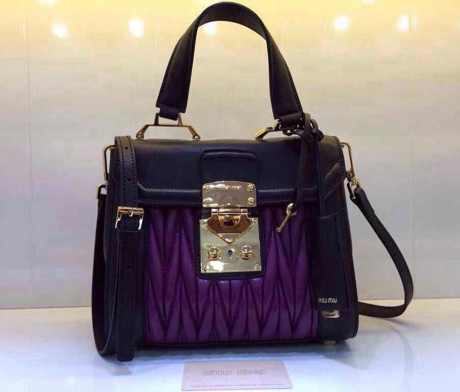 9a87e8764557 Miu Miu Nappa Leather Matelassé Bag Purple 2015  MiuMiu