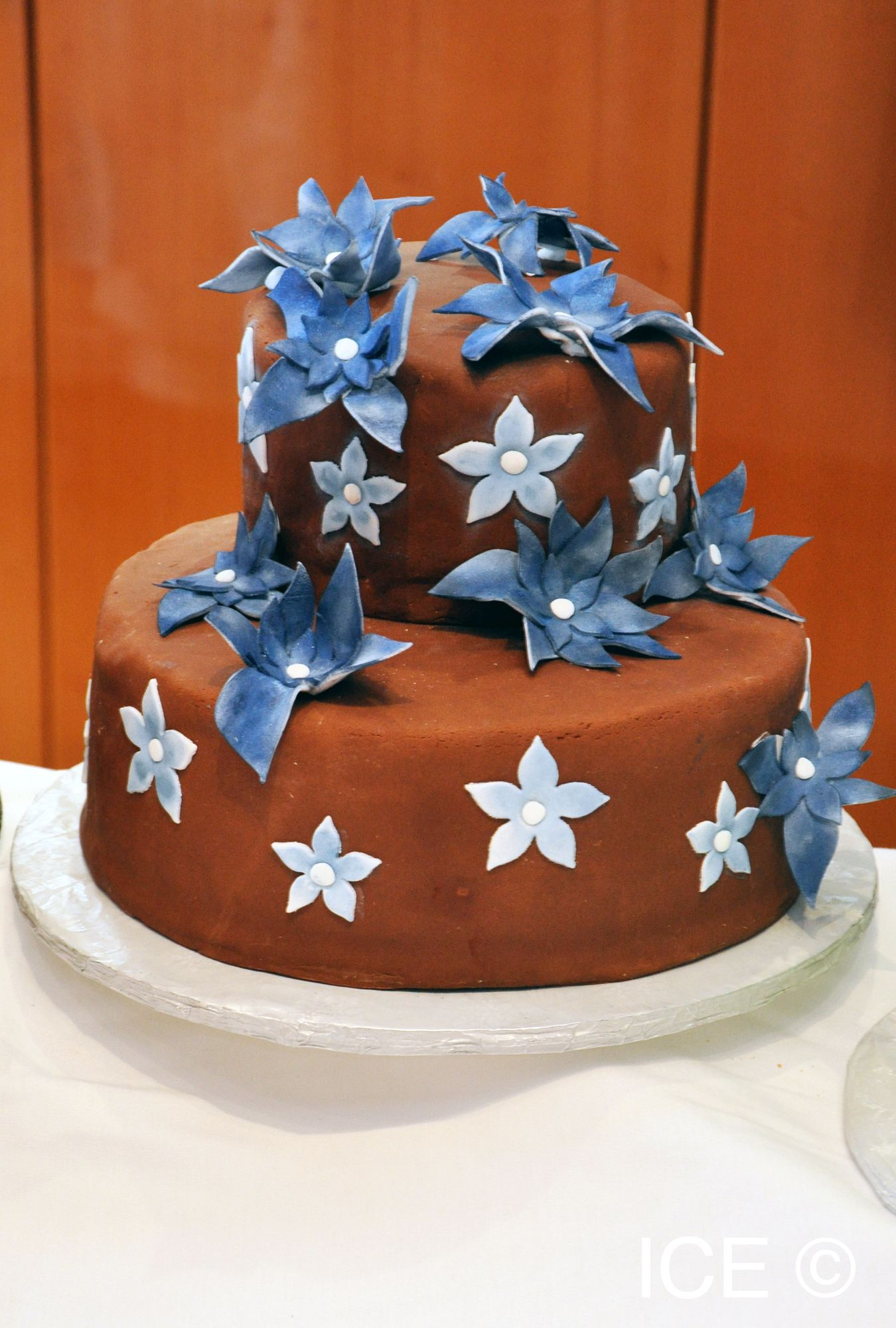 A brown and blue cake professional cake decorating