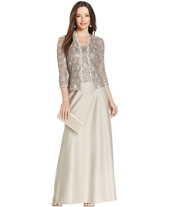 cd1904f84bb Alex Evenings Sequin-Lace Satin Gown and Jacket - Mother of the Bride -  Women - Macy s