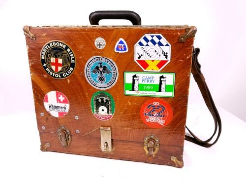 VINTAGE-GUN-box-SHOOTING-RANGE-BOX-PISTOL-CASE-award-sheilds-gun-case-magnet
