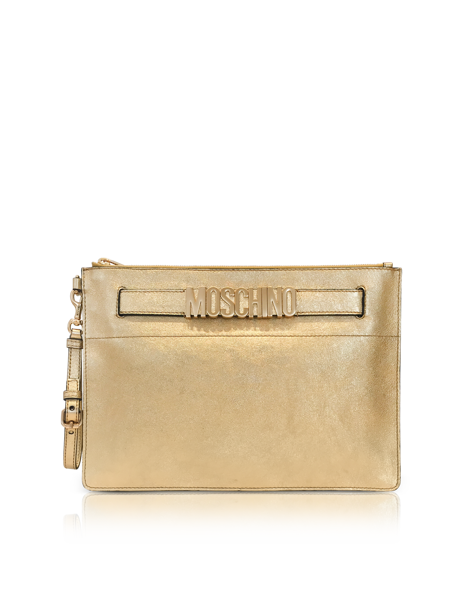 e7a1bec55bf ON SALE: Moschino - Gold Metallic Leather Clutch w/Signature Logo ...