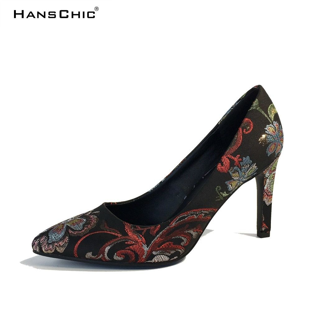 HANSCHIC 2017 Retro Chinese Embroidery Style WhitFloral Slip on Female  Women High Spike Heels Pumps Shoes for Ladies 1066-5 Price  85.75   FREE  Shipping ... 947dfcdd3ede