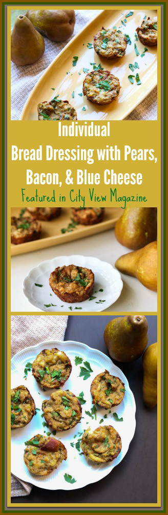 Individual Bread Dressing with Pears, Bacon, & Blue Cheese Recipe