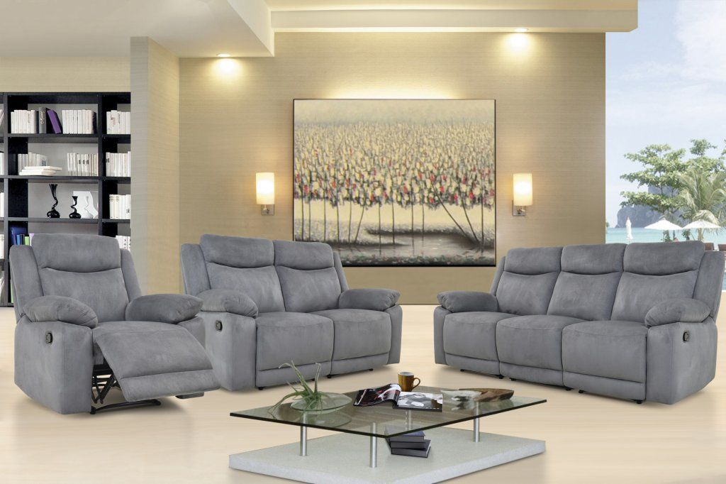 Volo Grey Reclining Sofa Loveseat And Chair Set Sofa And Loveseat Set Reclining Sofa Grey Reclining Sofa