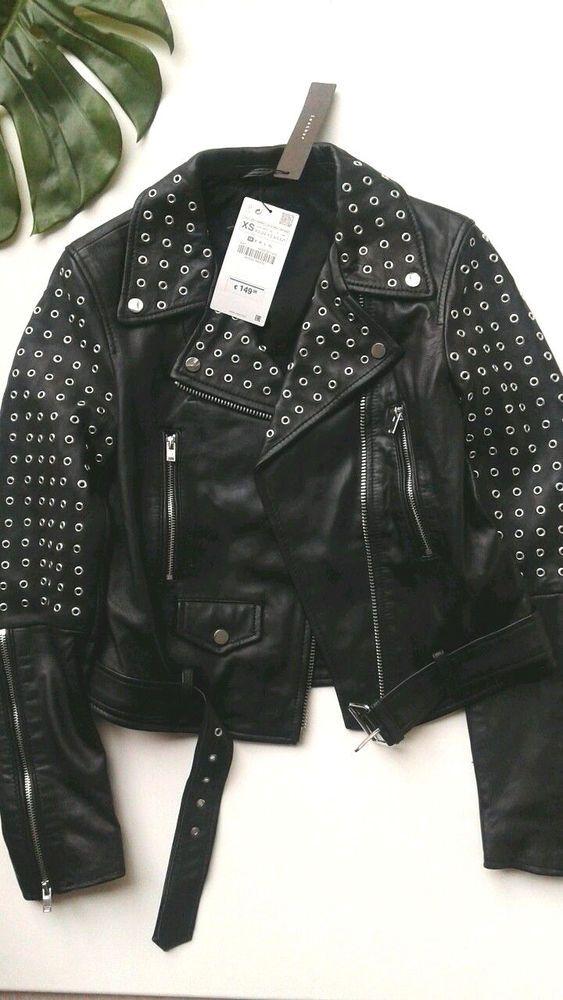 3cfb0f8e Zara black studded leather biker jacket size XS / S | eBay | jacket ...