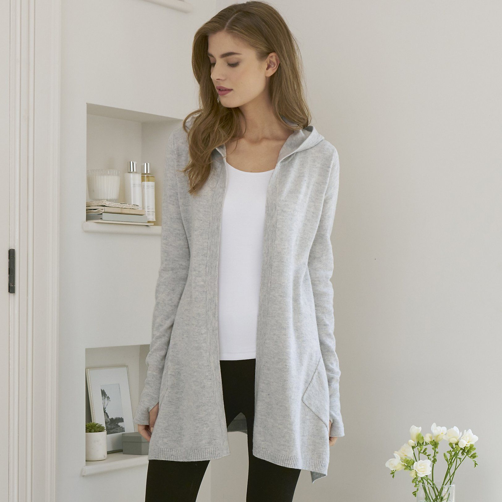 Rib Pocket Hooded Cardigan | Cardigans | knitwear | Clothing | The ...