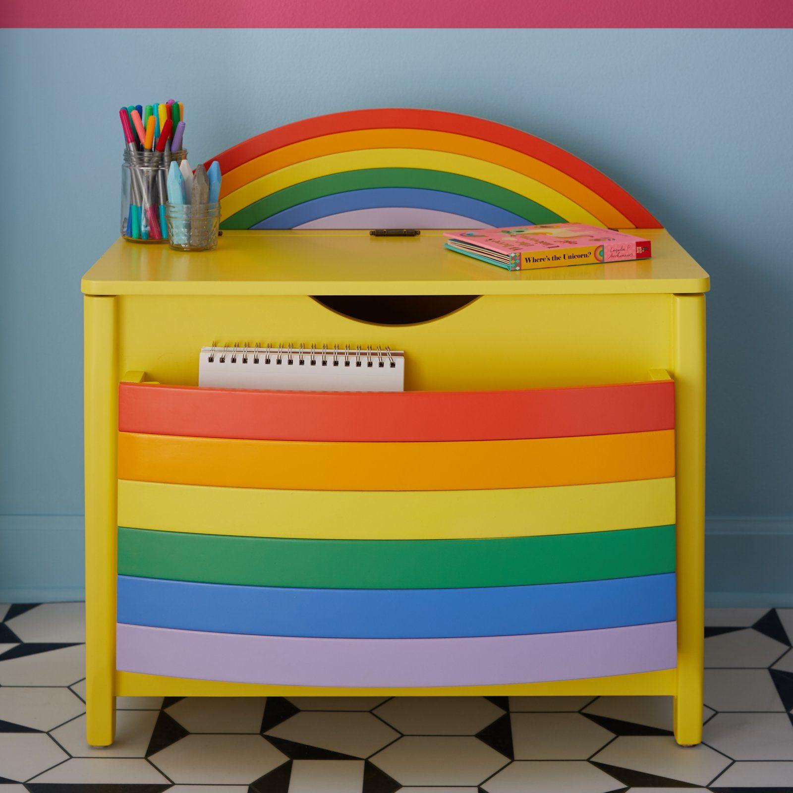 Rainbow Book Pocket And Toy Storage Bin By Drew Barrymore Flower Kids Walmart Com Diy Kids Furniture Toy Storage Bins Playroom Decor
