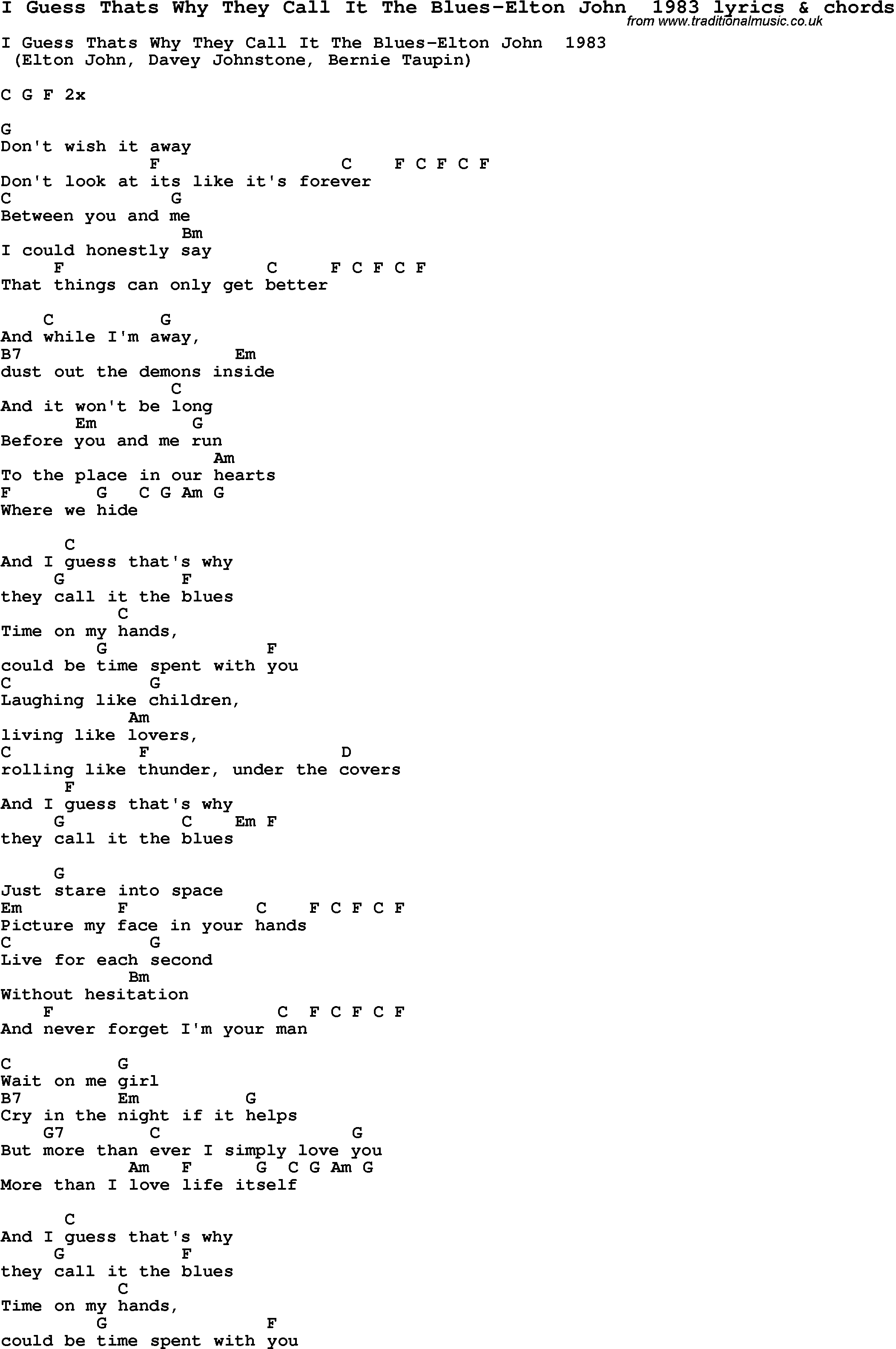 Love Lyrics for:I Guess Thats Why They Call It The Blues-Elton John