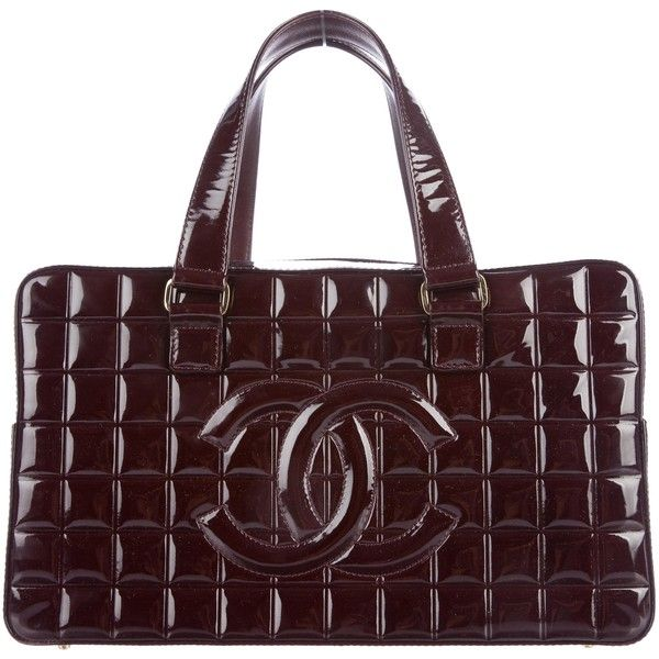 1b59a64689cf Pre-owned Chanel Patent Chocolate Bar Bowler Bag ($875) ❤ liked on Polyvore  featuring bags, handbags, burgundy, burgundy patent leather handbag, ...
