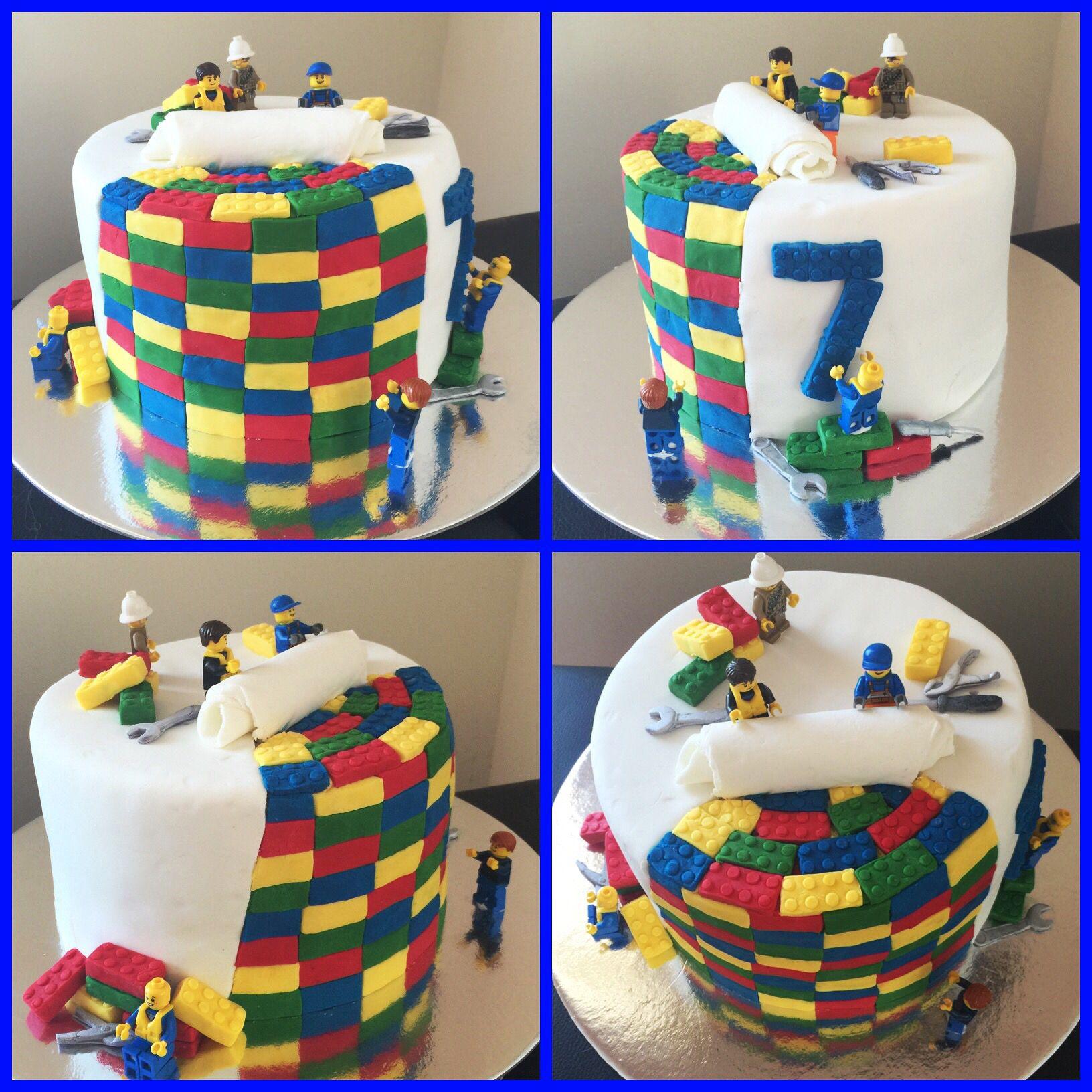 Incredible Lego Cake Made For A 7 Year Old Boys Birthday Buy A Lego Fondant Funny Birthday Cards Online Hetedamsfinfo