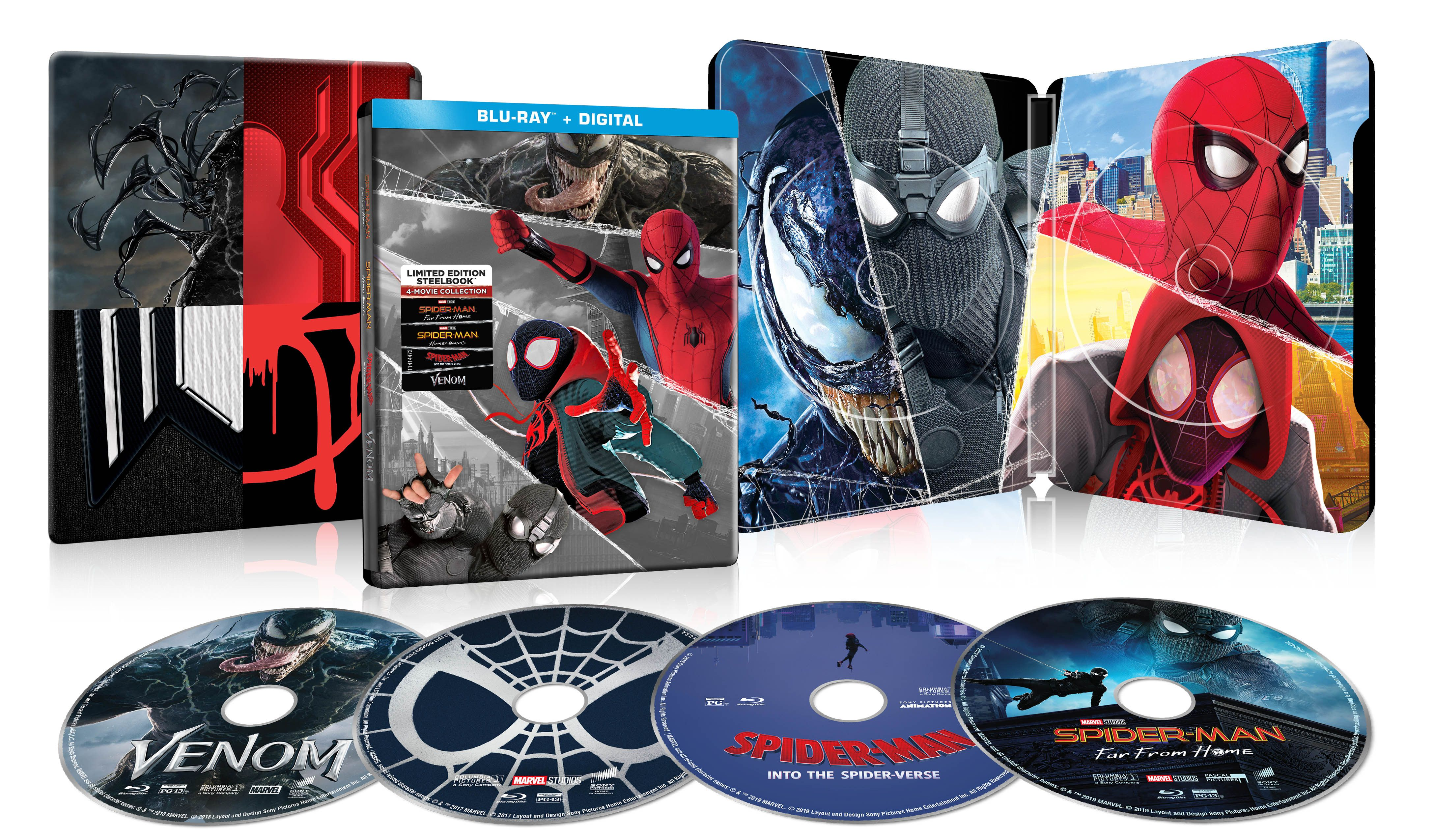 Spider Man 4 Film Steelbook Collection Far From Home Homecoming Into The Spider Verse Venom Blu Ray Digital Copy 29 96 Free In S Spider Verse Spiderman