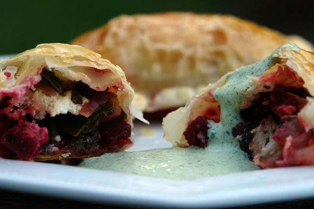 swiss chard, Black berries and goat cheese empanadas