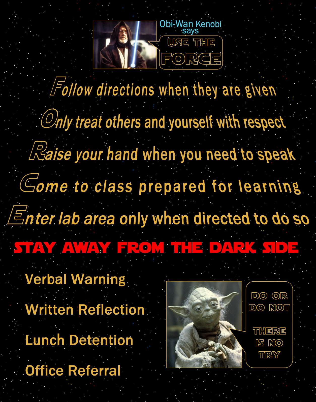 My Friend Made A Star Wars Classroom Rules Poster