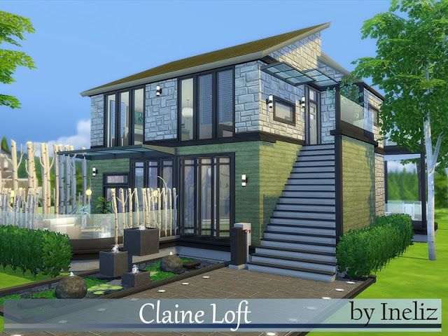 Sims 4 cc 39 s the best claine loft by ineliz sims 4 cc for Modernes haus sims 4
