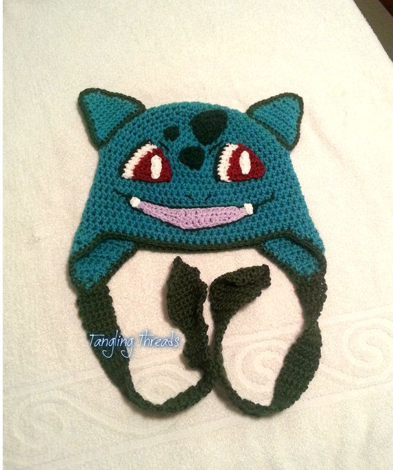Crochet Bulbasaur inspired ear flap hat | Halloween costumes ...