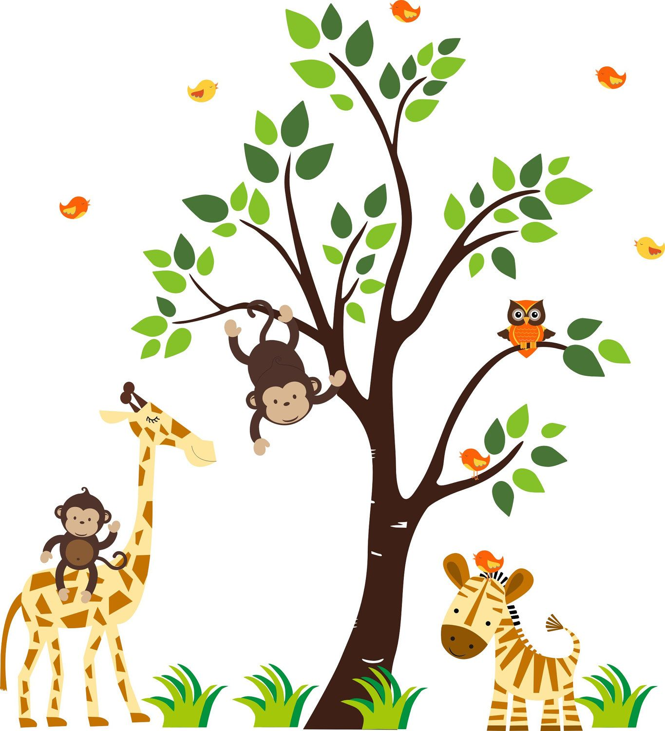 Jungle animal wall decals with giraffe elephant zebra monkey owl boys room wall decals stickers - Babyzimmer jungle ...