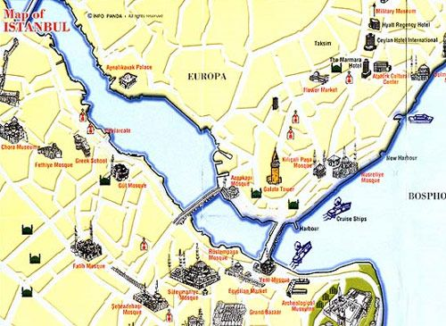 cool istanbul map tourist attractions