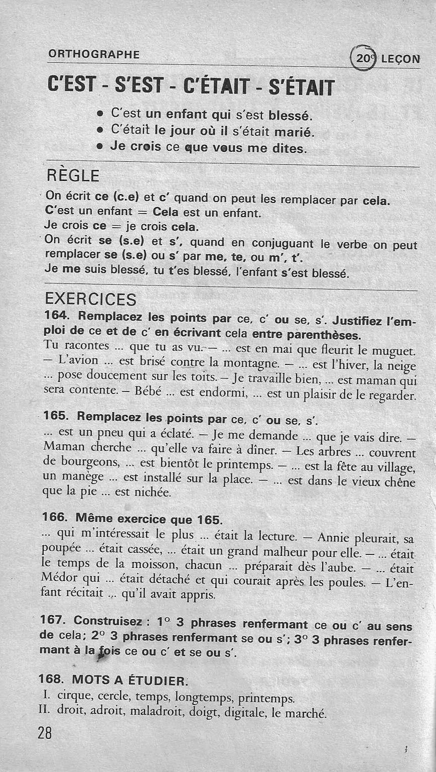 C Est Ou S Est Règle : règle, Manuels, Anciens:, Bled,, Cours, D'orthographe, CE2-CM, (1979), Orthographe, Grammaticale, French, Expressions,