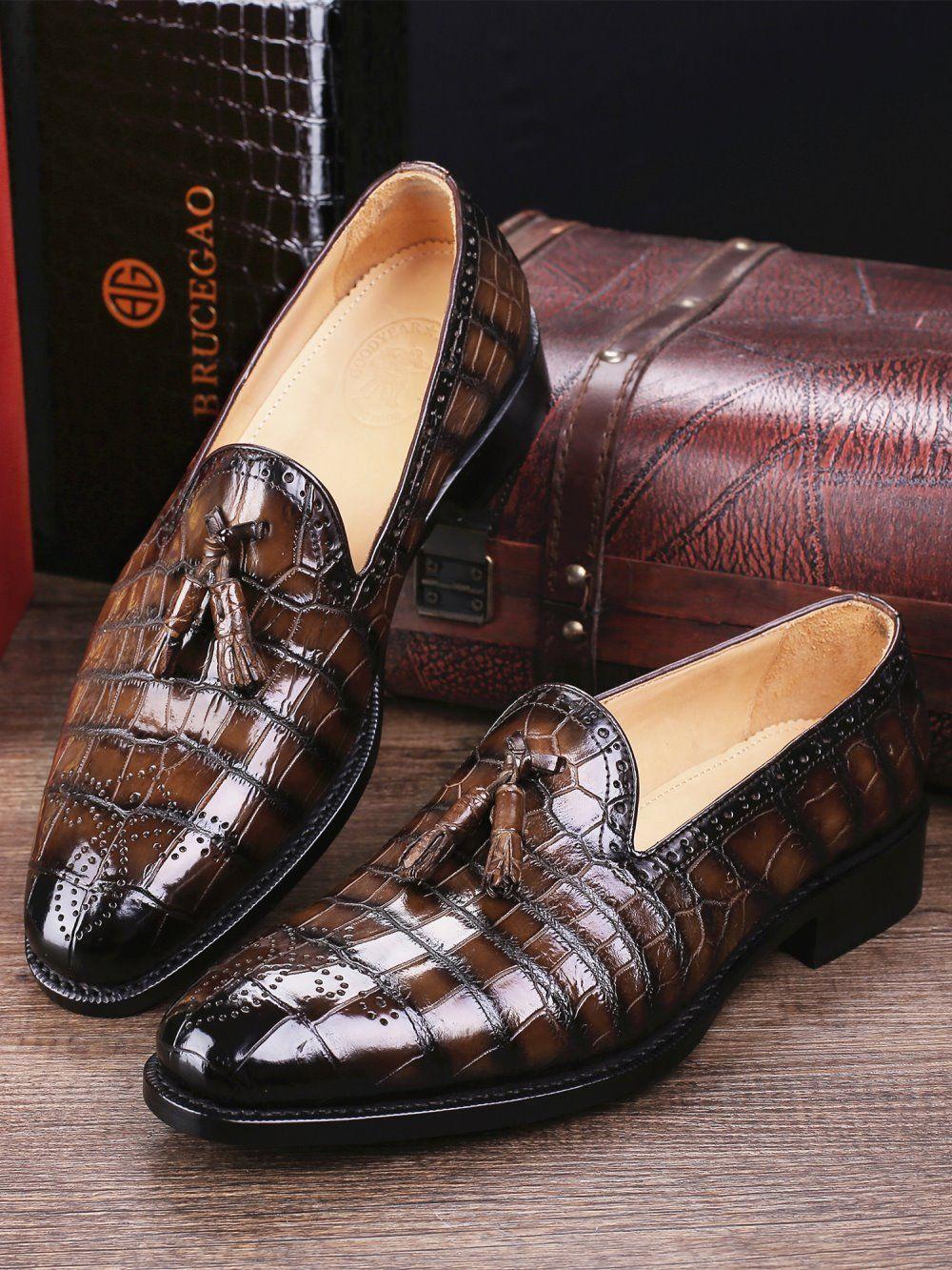 ca39310b76f Classic Alligator Leather Tassel Loafer Comfortable Slip-On Dress ...