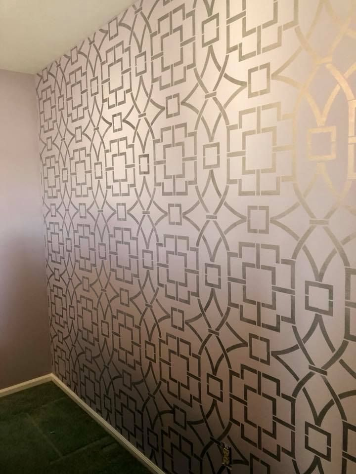 Metallic Wallpaper Painted Accent Wall Painted Wall Pattern Tea House Trellis Stenc Wallpaper Living Room Accent Wall Accent Wall Stencil Accent Wall Paint