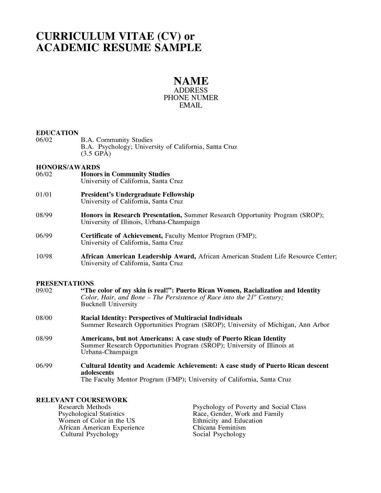 academic resume templates     resumecareer info  academic