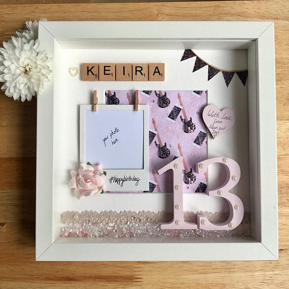 Personalised Teenage Birthday Box Frame Girls Present Iphone And Guitar Theme For 13