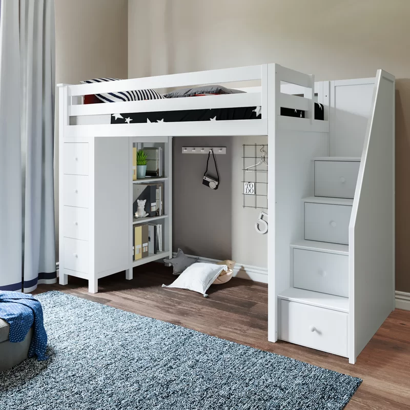Bunk Bed With Desk And Trundle In 2021 Loft Twin Low Beds