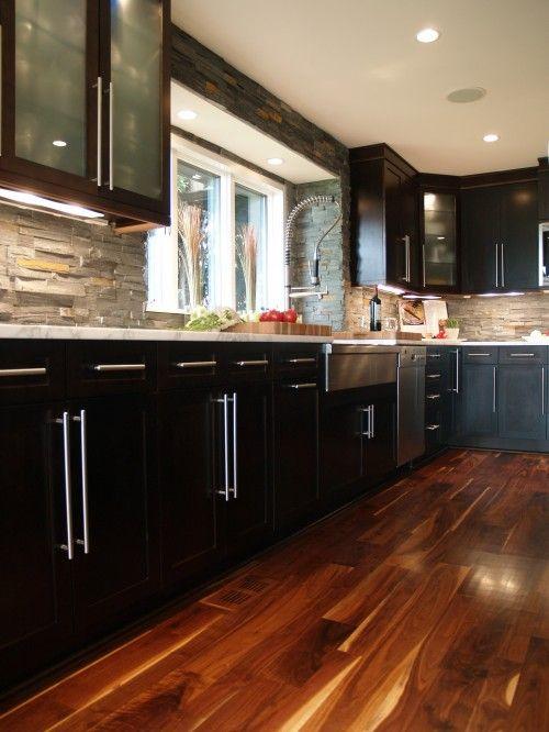 Stone Backsplash Black Cabinets Hardwood White Counter Top