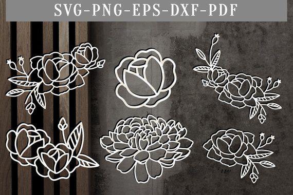 Floral rose bundle papercut template, bundle of 6 floral svg cut files, flowers scrapbook sticker, rose clipart, silhouette, cricut dxf, png #guidesign