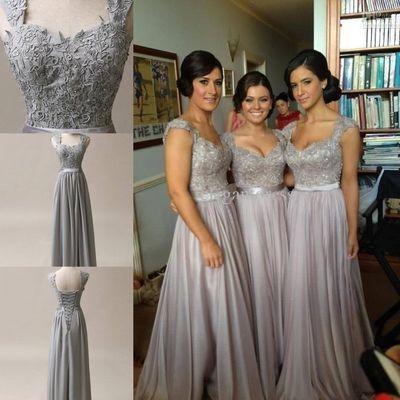 silver grey chiffon corset long bridesmaids dress wedding
