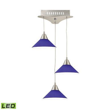 Cono 3 Light LED Pendant In Satin Nickel With Blue Glass